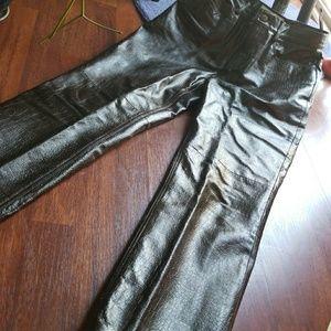 VINTAGE  Dark Brown pebbled leather pants!